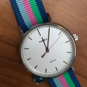 "Timex ""Weekender"" watch, preppy awning-stripe band"